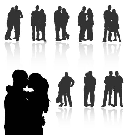 Set of couples vector silhouettes with reflections. More vector in my gallery. Vector