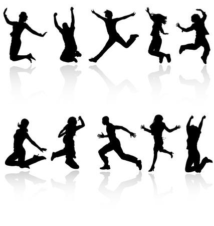 springende mensen: Jumping mensen silhouetten met reflectie collectie. Meer in mijn galerij. Stock Illustratie