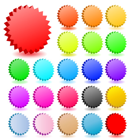 3D vector star badgeswith shadow  collection. Perfect for icons or text. Illustration