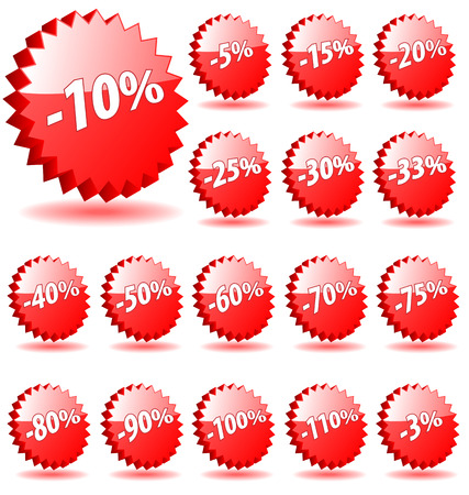 3D vector star badges with discount numbers for promotion and marketing. Vector
