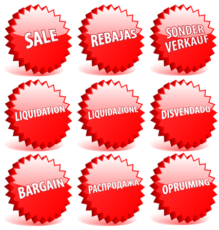Set of red 3D vector star badges with word sale in different languages. Vector