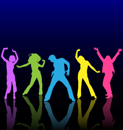Male and female dancing colored silhouettes with reflections on dance floor. Illustration