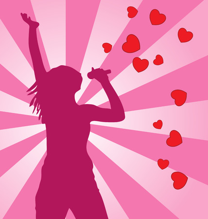 singing silhouette: Singing vector female silhouette on colored background. Illustration