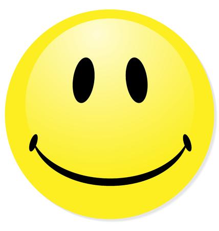 Emoticon amarillo sonriente de vector. Perfecto para icono, botón, insignia. Mezcla de sombra.