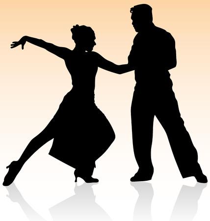 Vector silhouette d'un couple dansant le tango sur fond de couleur chaude.