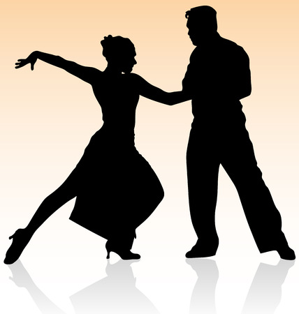 Vector silhouette of couple dancing tango on warm color background. Vector