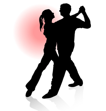 Vector silhouette of couple dancing tango with red sun on background.