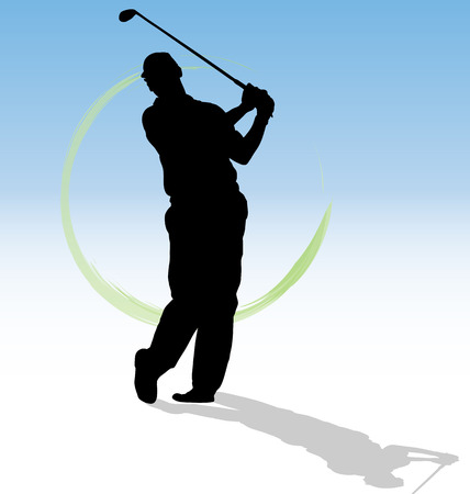 Vector silhouette of golfer with green trace on blue background. Vector