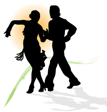 tangoing: Vector silhouette of couple dancing latin with orange sun and green trace.