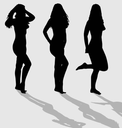 Vector silhouettes of three sexy female on gray background with shadows. Vector