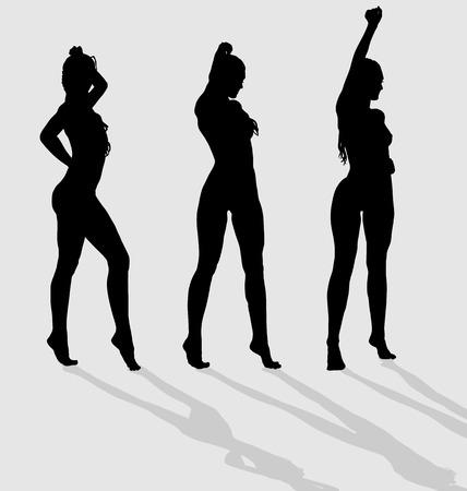 Vector silhouetten van drie sexy vrouwen op de grijze achtergrond met schaduwen.