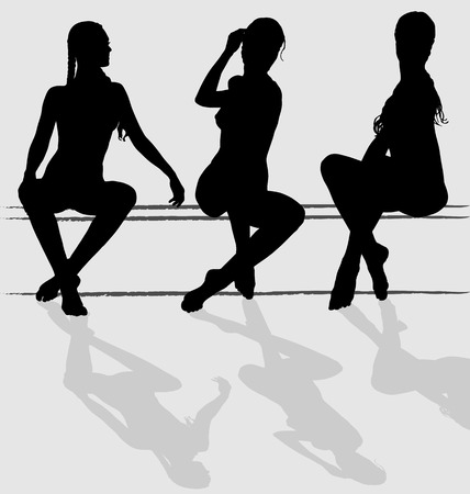 sit shape: Three vector silhouettes of attractive young woman sitting