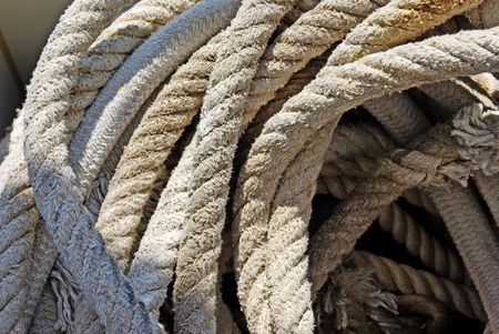 Rope with anchor on yacht for sailing as background. photo
