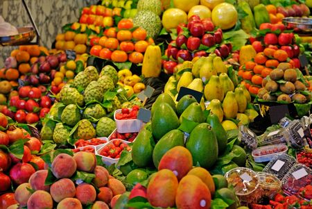 boqueria: La Boqueria, fruits. World famous Barcelona market, Spain. Selective focus.
