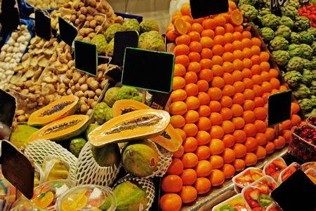 alignement: La Boqueria rows of fruits. World famous Barcelona market, Spain. Stock Photo