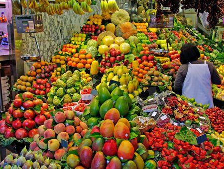 La Boqueria, fruits. World famous Barcelona market, Spain. Selective focus. photo