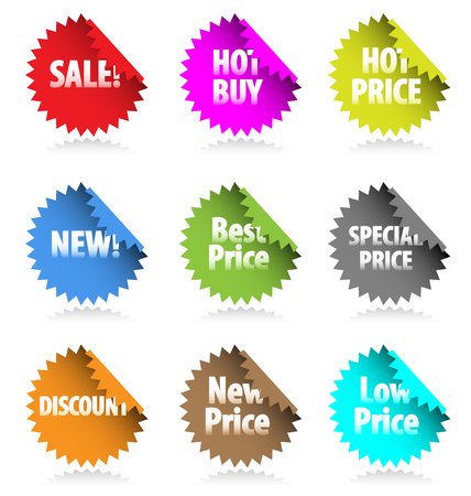 Set of vector stickers with promotional text. Perfect for marketing and advertisement. Vector