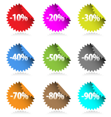 Collection of colored discount stickers with percent numbers. Vector