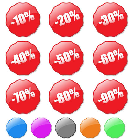 Collection of colored discount tags with percent numbers. Easy to edit, any text or color. Stock Vector - 5081350