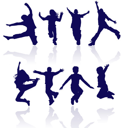 Boys and girls jumping vector silhouette with reflections. Illustration