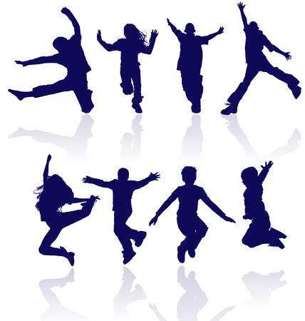 Les gar�ons et les filles de saut silhouette vecteur de r�flexion.