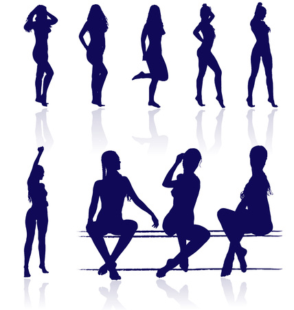Vector silhouettes of sexy female posing with reflections. Vector