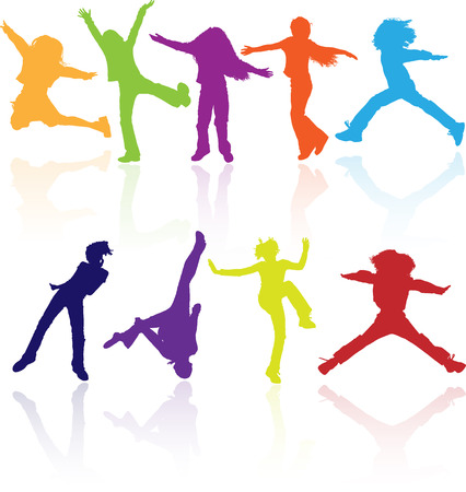 Set of colored active children vector silhouettes with reflection. Vector
