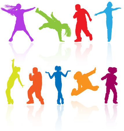 Set of colored dancing, jumping and posing teenagers vector silhouettes with reflection. Illustration