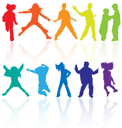 jumps: Set of colored dancing, jumping and posing teenagers vector silhouettes with reflection. Illustration