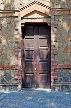 residental: Aged residental door in Lloret de Mar, Spain.