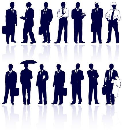 Ensemble de vecteur avec des gens d'affaires silhouettes r�flexions.