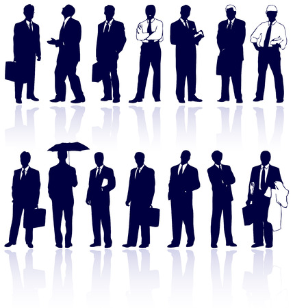 Set of vector business people silhouettes with reflections. Vector