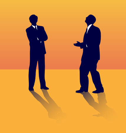 stand out: Two business silhouettes of people talking about job lose. Illustration