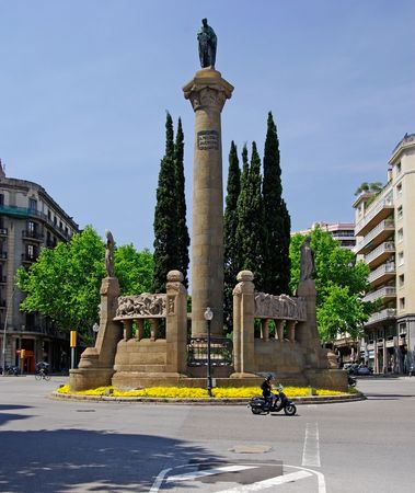 mediterranian: Vertical monument in Barcelona city. Spain, Europe. Stock Photo