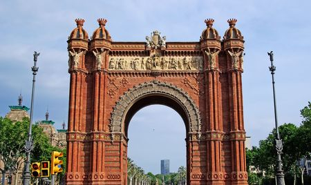 Triumphal arch made of brick. Barcelona, Spain. photo