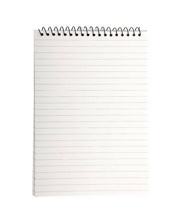 Binder-Notizbuch mit leeren striped-Seite isolated on white Background.