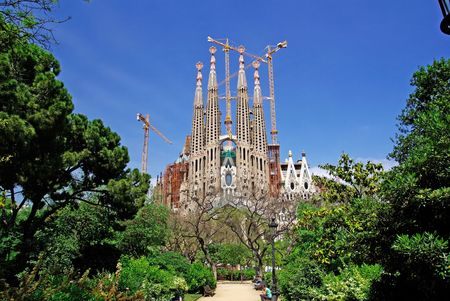 catalunia: Sagrada Familia view from park. Barcelona, Spain.