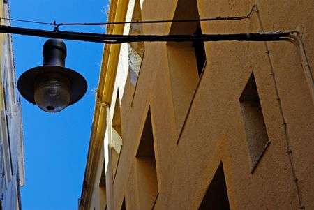 Typical architecture and street light of Lloret de Mar. Costa Brava, Spain. photo