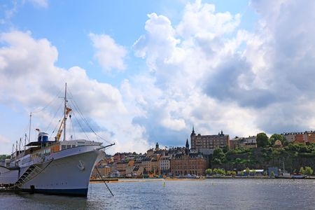 Ship and cityscape of Stockholm. photo