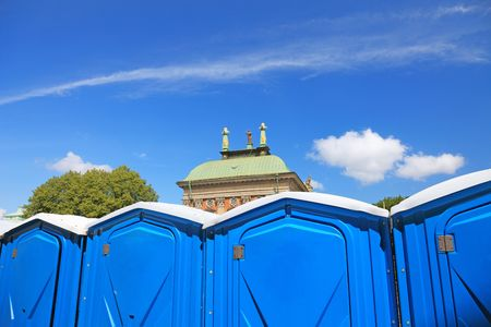 Temporary toilet cabins in center of Stockholm city. photo