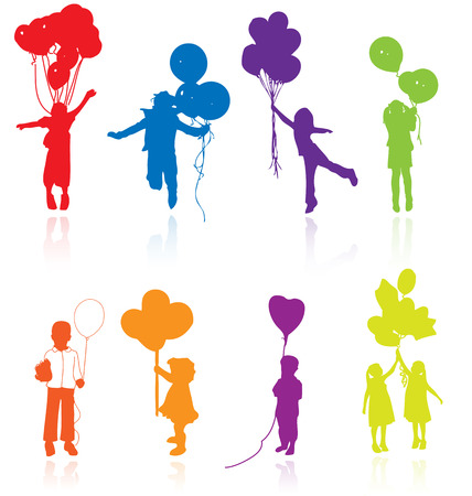 Colored reflecting silhouettes of playing, jumping children with balloons. Illustration