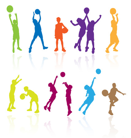 youth group: Silhouettes of children jumping and playing basketball with reflections. Easy to edit, any size. Illustration
