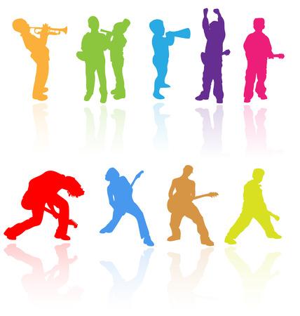 Vecteur silhouettes de r�flexion des enfants jouant des instruments de musique. Facile � modifier, toute taille.