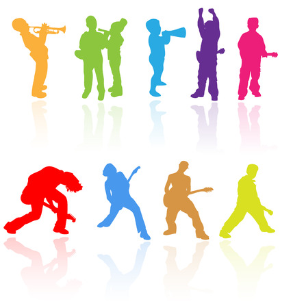 Vector silhouettes with reflection of children playing musical instruments. Easy to edit, any size.