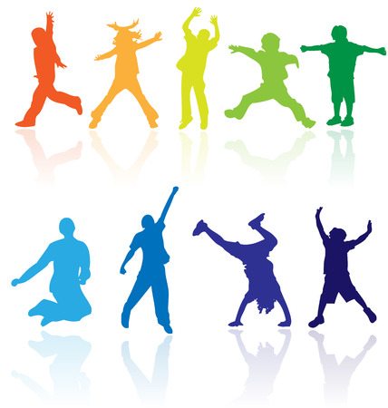 jumps: Vector colored silhouettes with reflections of children activity. Easy to edit, any size. Illustration