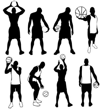 hombre deportista: Conjunto de siluetas de jugadores de baloncesto de vector. F�cil de editar, cualquier tama�o.