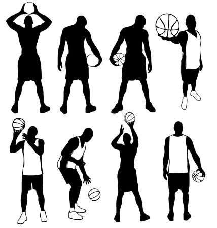 any size: Set of vector basketball players silhouettes. Easy to edit, any size. Illustration