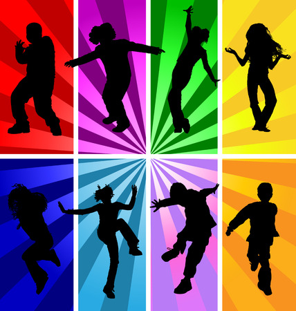 disco background: Vector silhouettes of jumping and dancing kids in retro style.