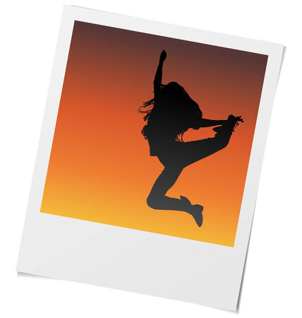 frame of girl dancing and jumping in sunset light. Vector