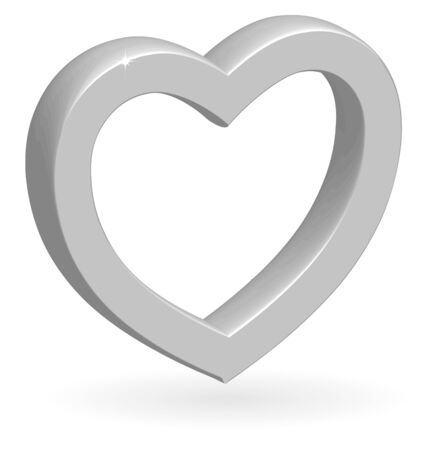 3D glossy silver heart with shadow isolated on white background. Vector